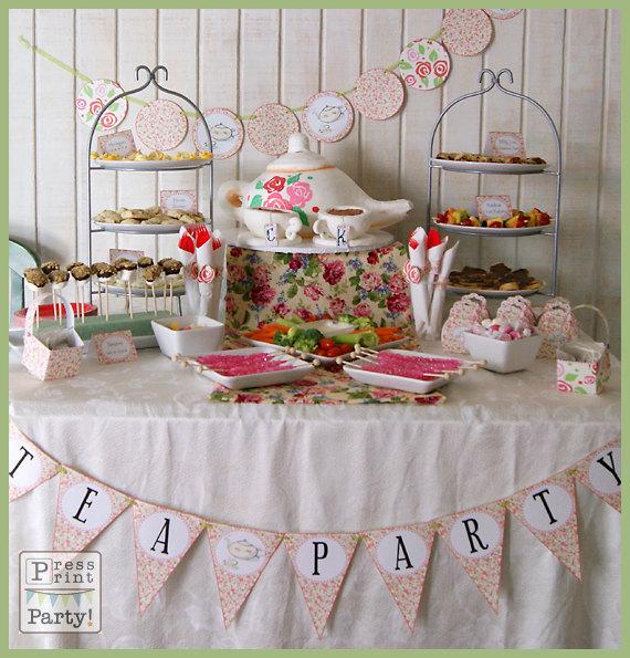 The Printable Tea Party TEA PARTY GIRL – Handmade Tea Party Invitations