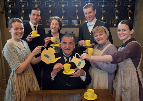Jim Carter and Cast Members Enjoying a Tea Party